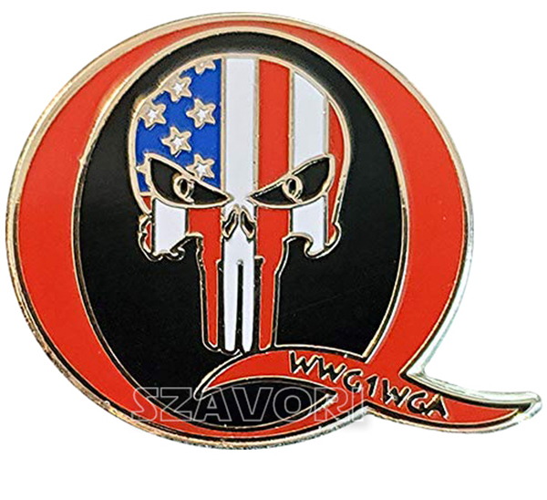 Qanon Wwg1wga Hard Enamel Lapel Pin 1 Wide With Patriot Punisher Skull Ebay